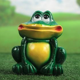 """Садовая фигура """"Сидящая лягушка"""" малая, зелёно-жёлтая"""