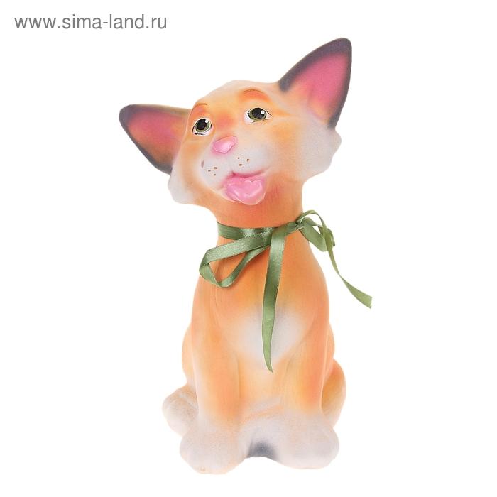 "Копилка ""Кошка Дана"" флок, персиковая"