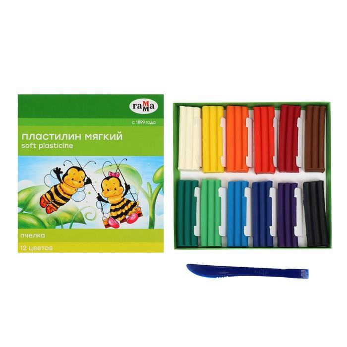 """Пластилин мягкий (восковой) 12 цветов 147г """"Пчелка"""""""