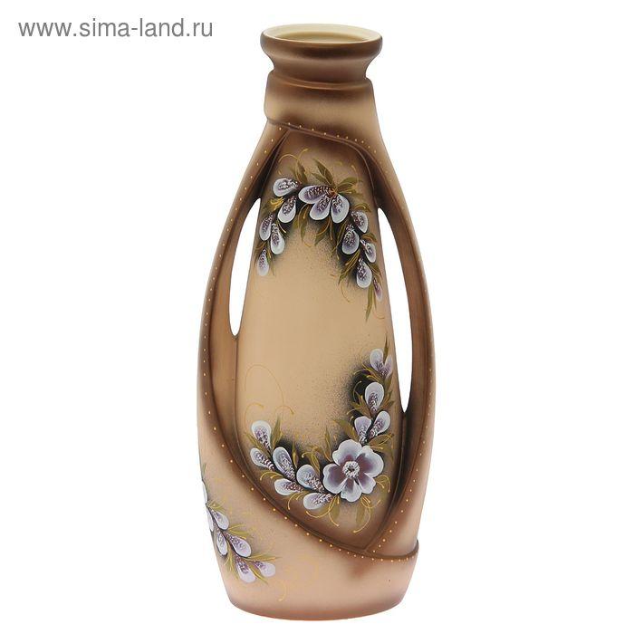 """Ваза напольная """"Венеция"""" цветы, акрил, бежевая"""