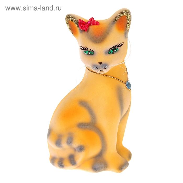 """Копилка """"Кошка Лиза"""" малая, флок, рыжая"""