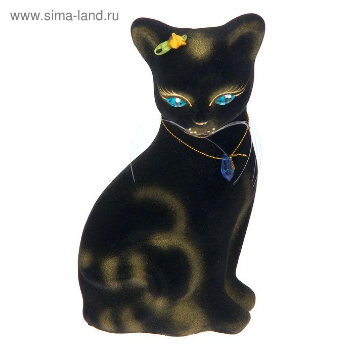 """Копилка """"Кошка Лиза"""" малая, флок, чёрная, микс"""