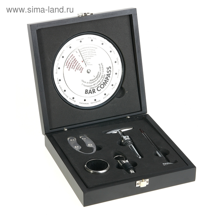 """Набор для вина в кейсе """"Шайн"""", 6 предметов: компас-бар, пробка, кольцо, термометр, каплеуловитель, держатель"""
