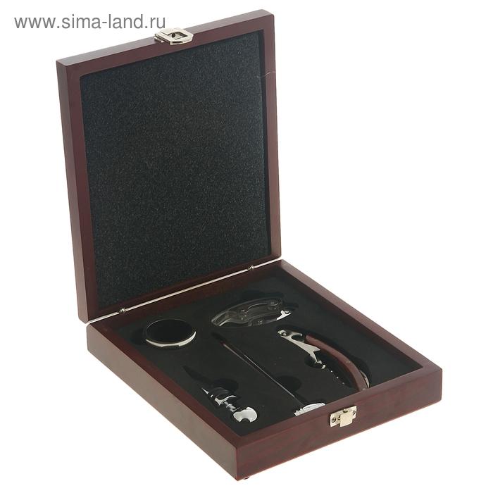 """Набор для вина в кейсе """"Встреча"""", 5 предметов: кольцо, держатель, штопор, термометр, пробка"""