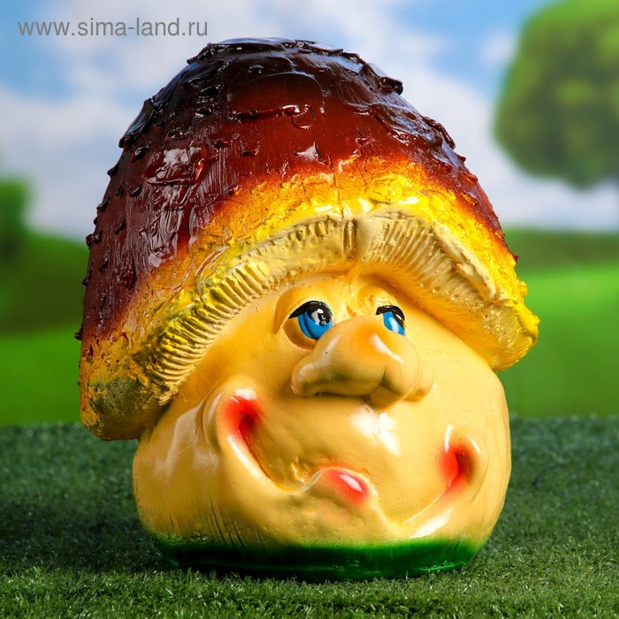 """Садовая фигура """"Гриб-мультяшка"""" коричнево-жёлтая шляпка"""
