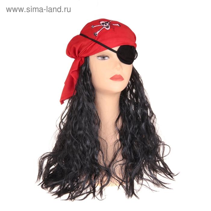 Карнавальный парик с красной банданой и наглазником