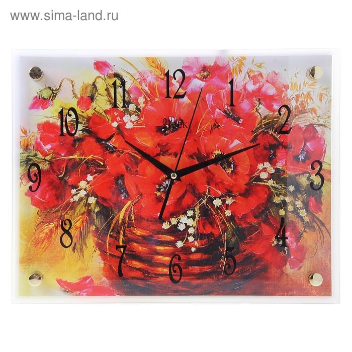 """Часы настенные квадратные """"Цветы в корзинке"""", 30х40 см"""