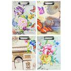 Планшет с прижимом формат А4 картон МИКС Акварель/бабочки