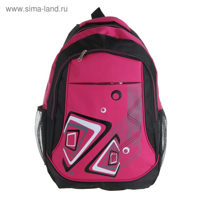 """Рюкзак молодёжный """"Фэнтези"""", 1 отдел, 2 наружных и 2 боковых кармана, усиленная спинка, цвет чёрно-розовый"""