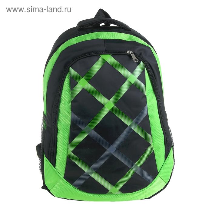 """Рюкзак школьный """"Клетка"""", 1 отдел, 1 наружный и 2 боковых кармана, усиленная спинка, чёрный/зелёный"""