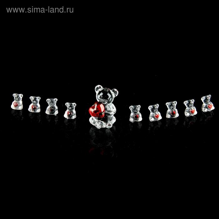 """Набор сувениров """"Медвежата с сердцем"""", 10 шт, МИКС"""