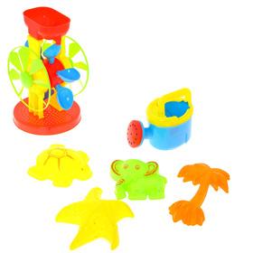 """Песочный набор """"На пляже"""" 6 предметов: мельница, лейка, 4 формочки"""