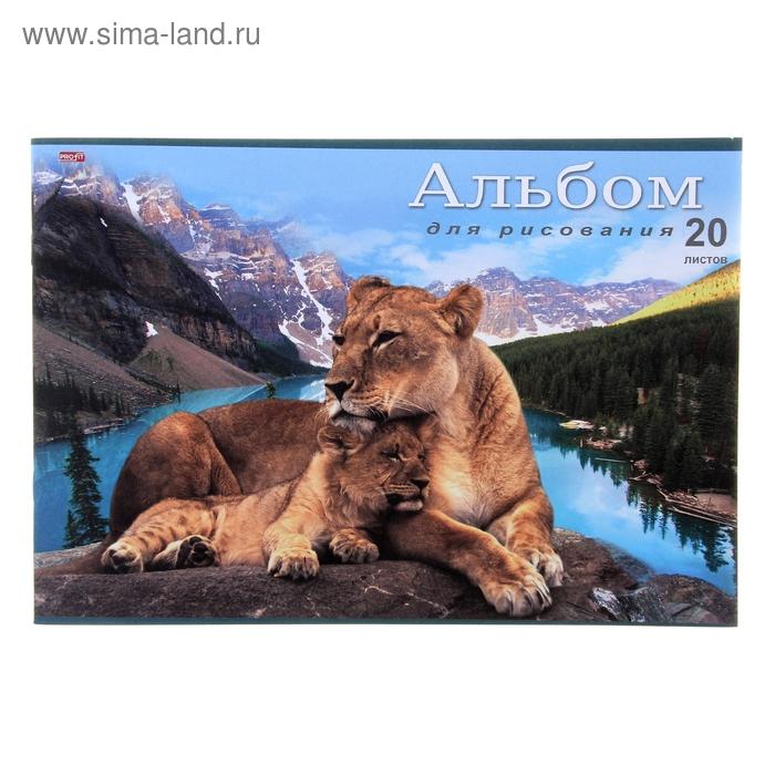 """Альбом для рисования А4, 20 листов на скрепке """"Животные на фоне природы"""", обложка офсет 80г/м2, блок офсет 100г/м2"""