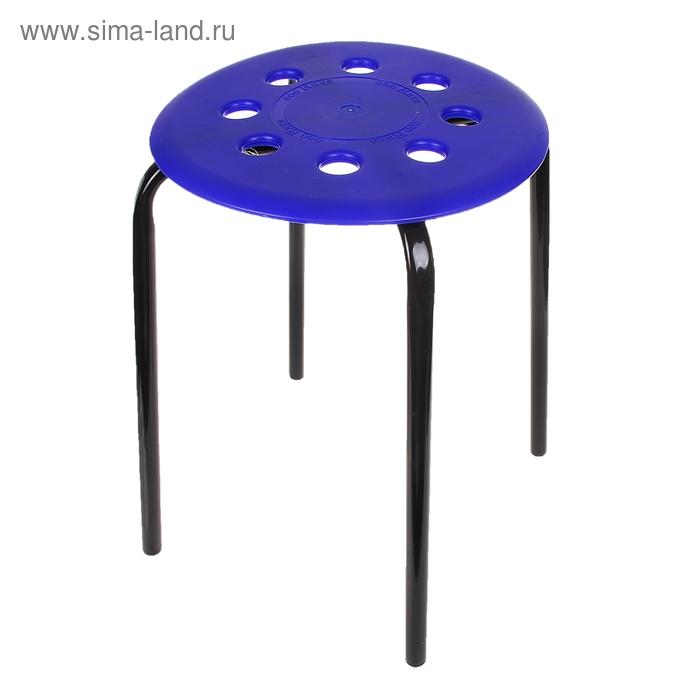 Табурет с пластмассовым сиденьем, цвет синий