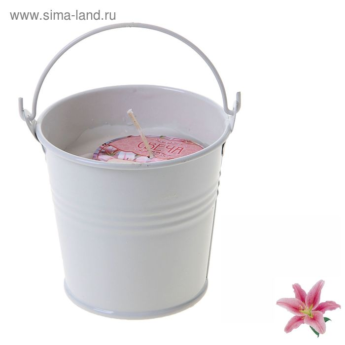 """Свеча восковая """"Ведёрко"""", аромат лилия"""