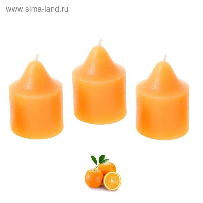 """Свечи восковые (набор 3 шт) """"Романтик"""", аромат апельсин"""