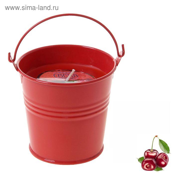 """Свеча восковая """"Ведёрко"""", аромат вишня"""