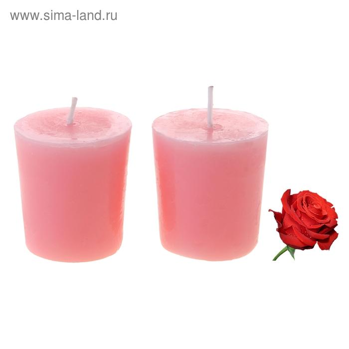 """Свечи восковые (набор 2 шт) """"Столбик"""", аромат роза"""