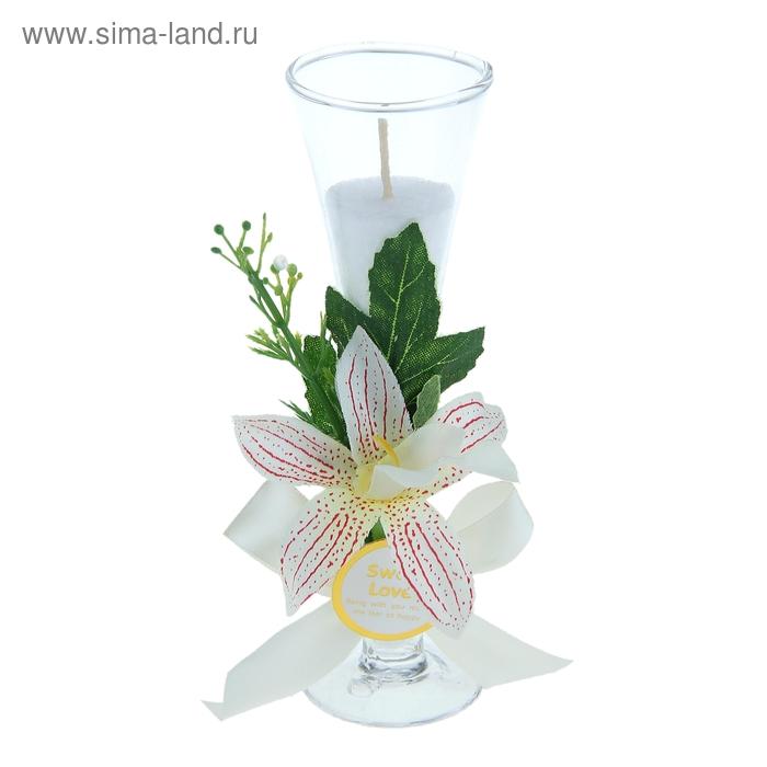 """Свеча восковая """"Орхидея"""", цвет белый"""