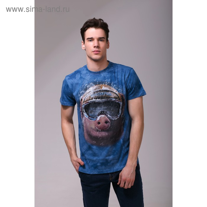 Футболка мужская Collorista 3D Pig, размер XXL (52), цвет синий