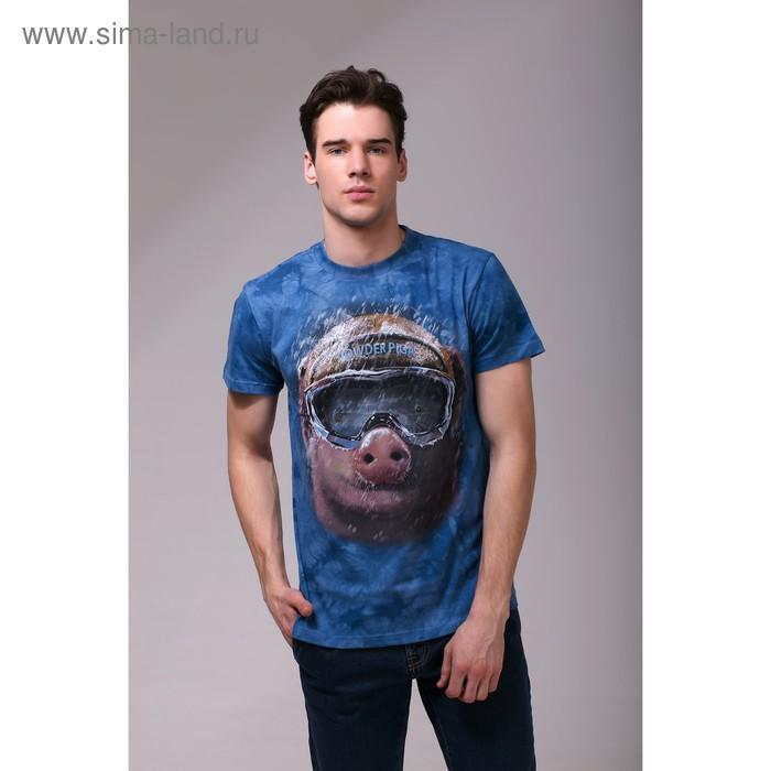 Футболка мужская Collorista 3D Pig, размер S (44), цвет синий