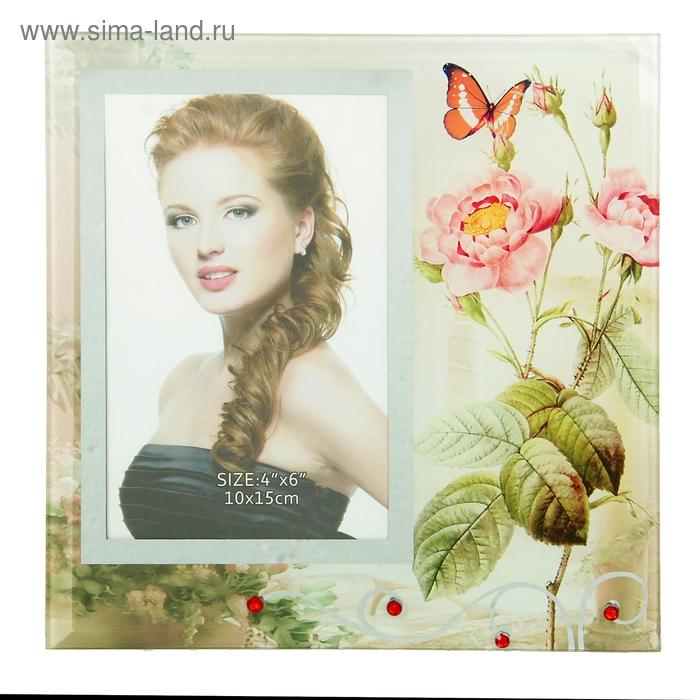 """Фоторамка """"Садовые цветы"""" зеркальная, со стразами, 10х15 см"""