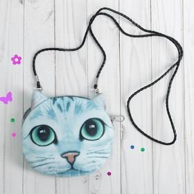 """Мягкая сумочка на веревочке """"Киса"""" с зелеными глазами"""