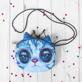 """Мягкая сумочка на веревочке """"Киса"""" большие глазки"""