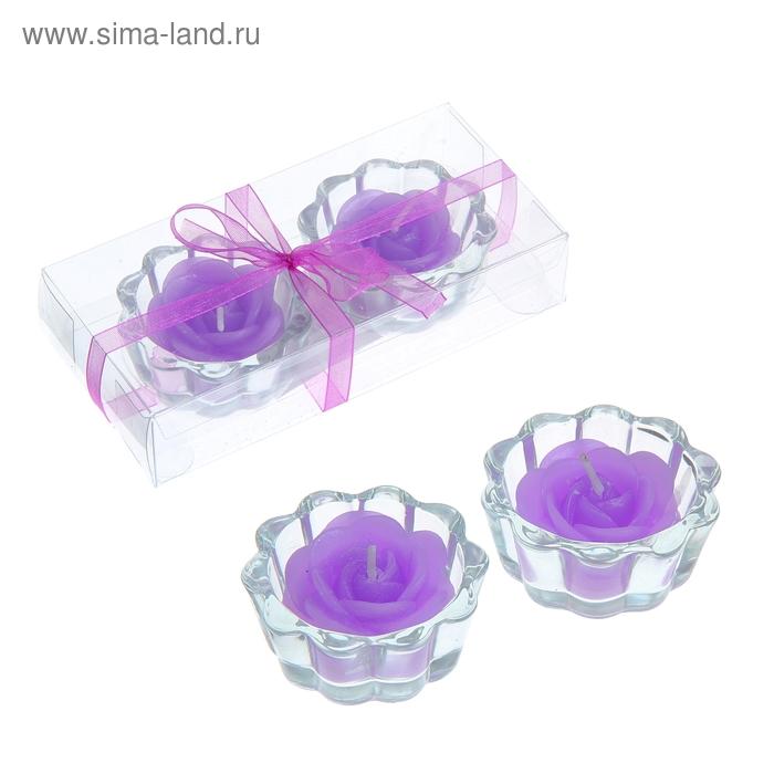 """Свечи восковые (набор 2 шт) """"Роза"""", цвет сиреневый"""