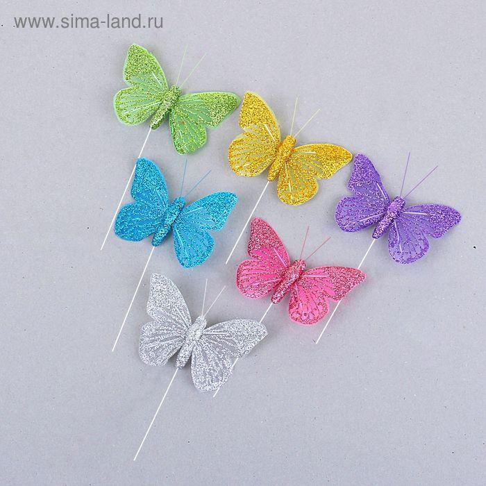 "Декор ""Бабочки"" на палочке (набор 12 шт), цвета МИКС"
