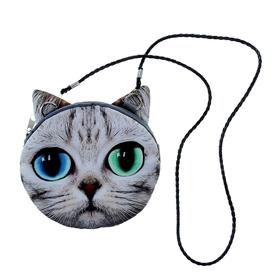 "Мягкая сумочка на веревочке ""Киса"" с глазами разного цвета"