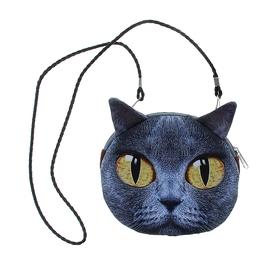 """Мягкая сумочка на веревочке """"Киса"""" серая с большими желтыми глазами"""