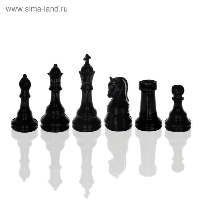 Набор шахматных фигур (король, ферзь, слон, конь ладья, пешка), черный