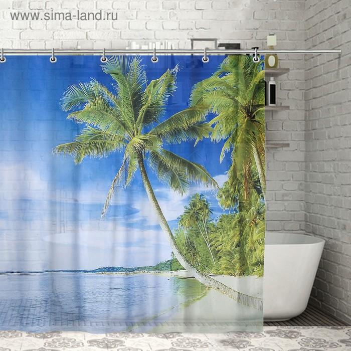 """Штора для ванной 180х180 см """"Пляж"""", полиэстер"""