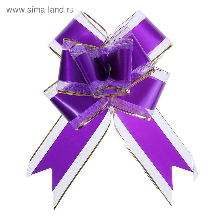 """Бант-бабочка №7 """"Золотая полоса"""", цвет фиолетовый"""