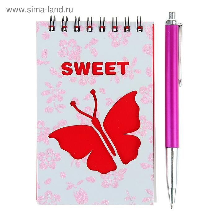 Блокнот А6 30л лин на гребне с ручкой в пластиковой коробочке МИКС Бабочка