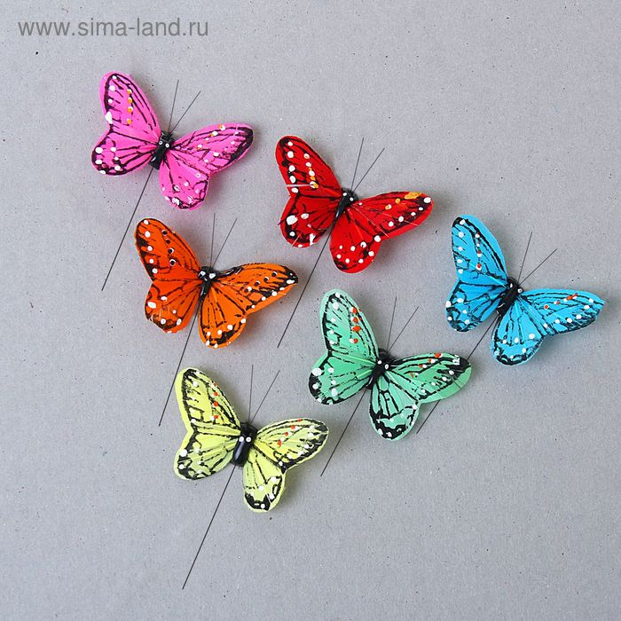 "Декор ""Бабочки"" на палочке (набор 24 шт), цвета МИКС"