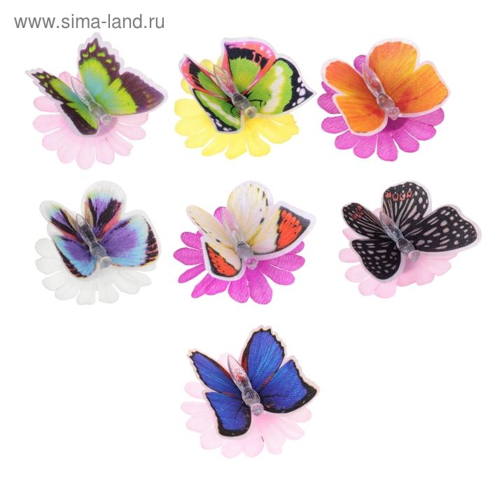 Бабочка световая на цветочке, цвета МИКС