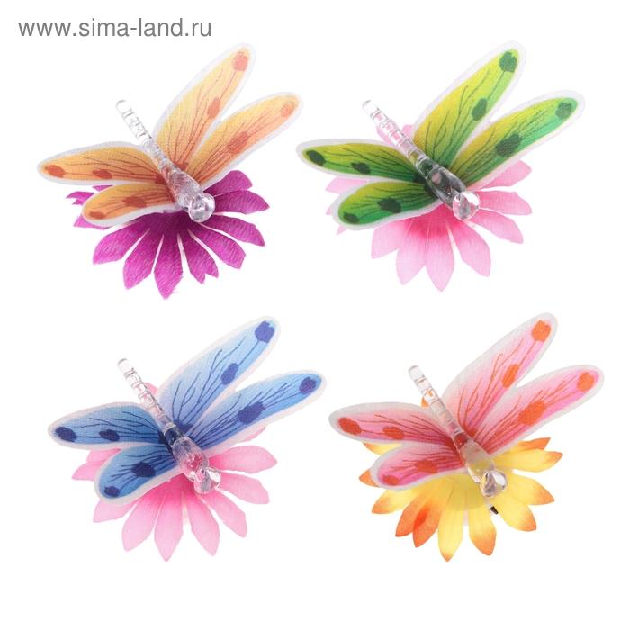 Стрекоза световая на цветочке, цвета МИКС