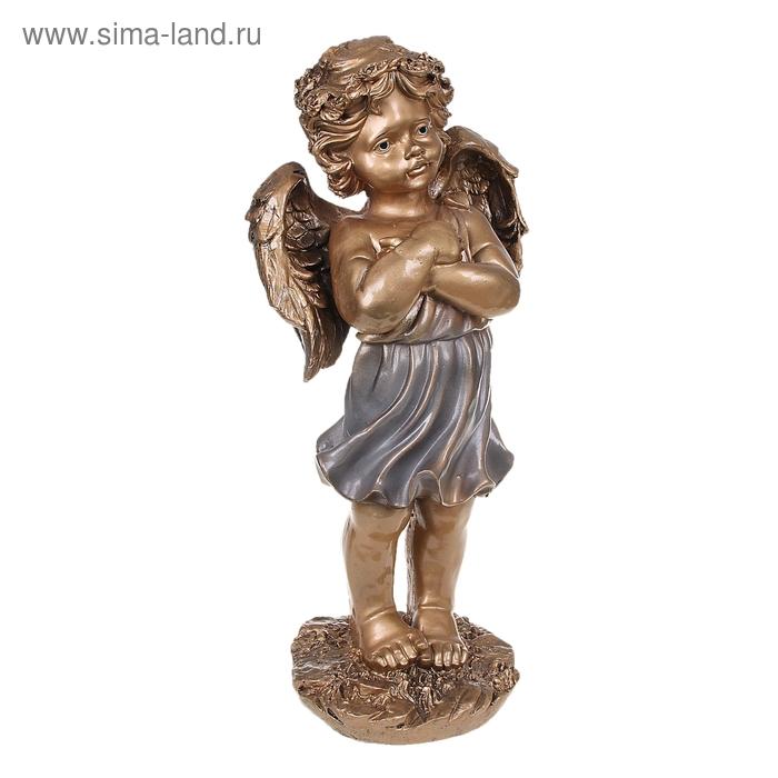 "Статуэтка ""Ангел с венком"" бронза, серебро"
