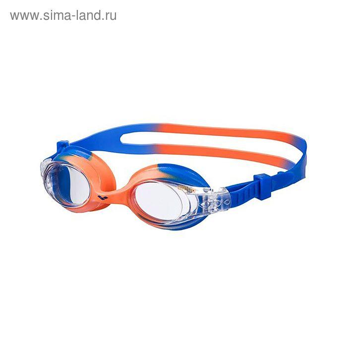 Очки для плавания детские ARENA X-lite Kids, прозрачные линзы, оранжево-синяя оправа