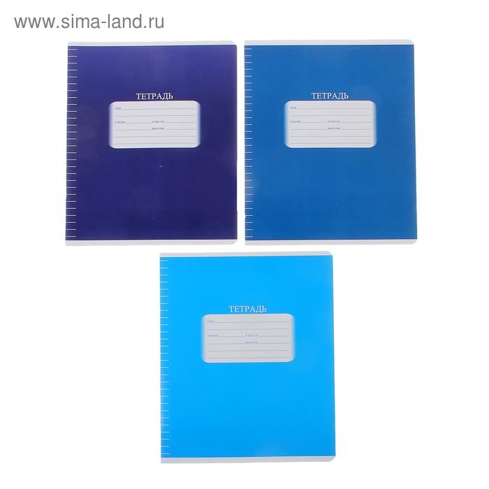 """Тетрадь 18 листов линейка """"Моно.Синяя"""", лакированный картон, МИКС"""
