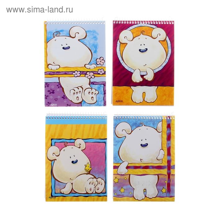 Блокнот А6, 80 листов на гребне Art Master-11, ламинированный картон, 4 вида МИКС