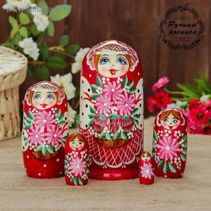Матрешка 5 кукольная ягоды в корзинке, красное платье