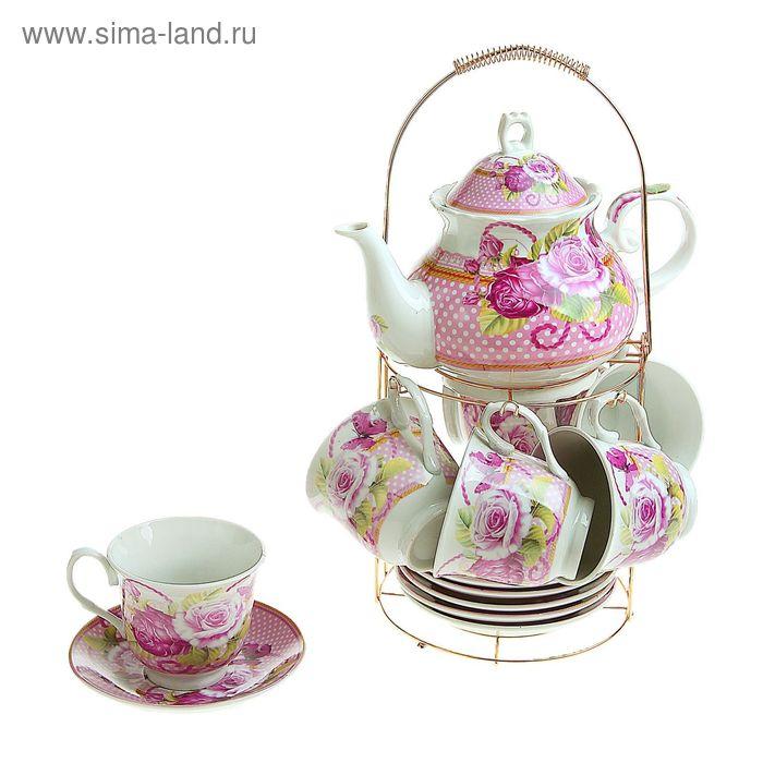 """Сервиз чайный на стенде """"Волшебный момент"""", 13 предметов: чайник 1 л, шесть чашек 200 мл, шесть блюдец"""