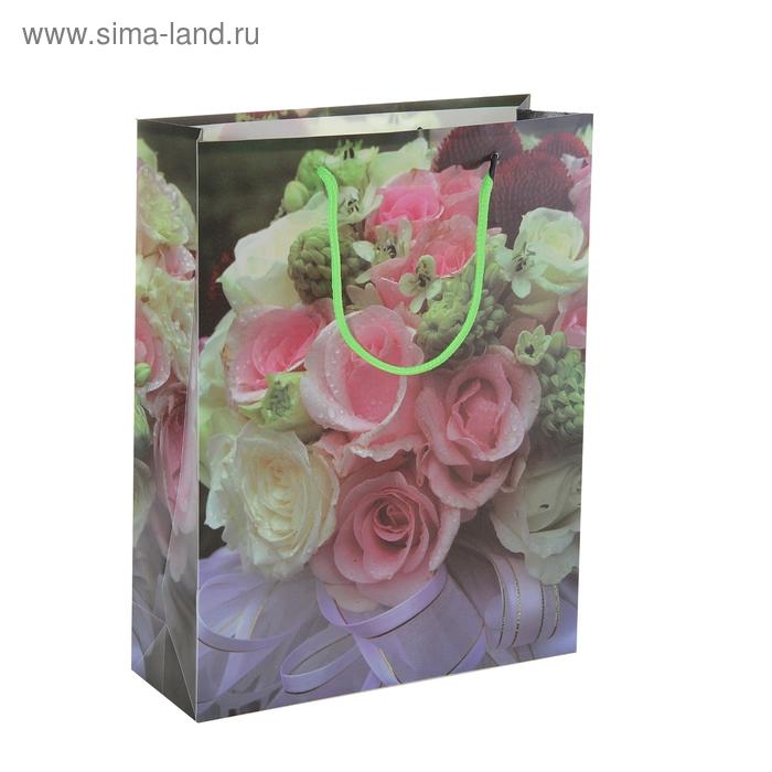 """Пакет пластиковый """"Розовые и белые розы"""""""