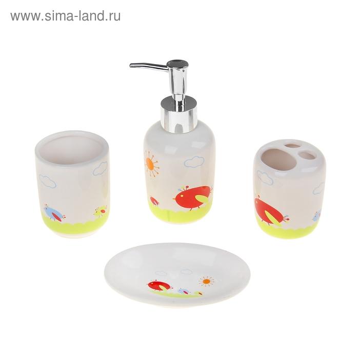 """Набор для ванной 4 предмета (Дозатор, мыльница, 2 стакана), """"Птичка"""""""