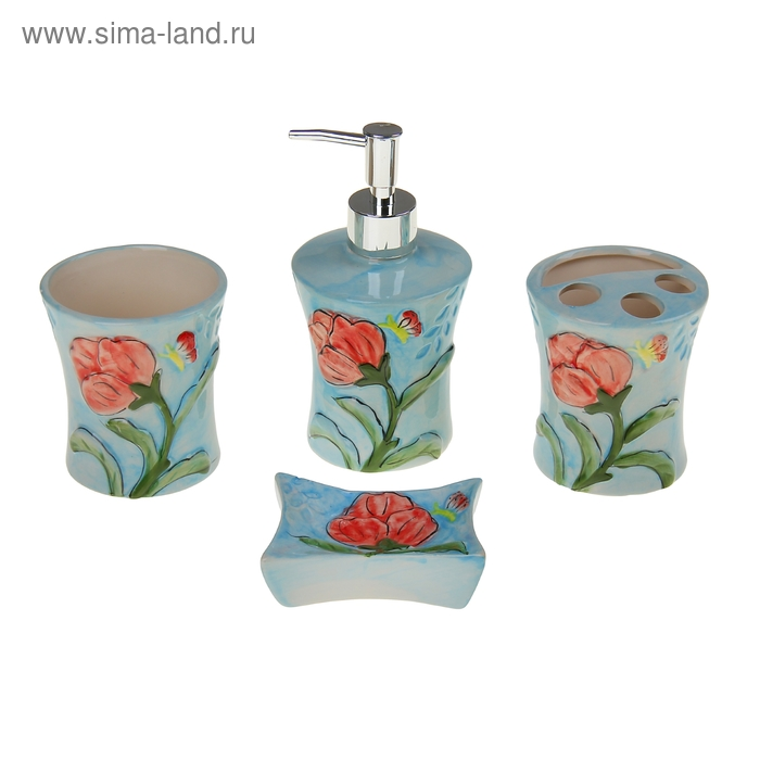 """Набор для ванной 4 предмета (Дозатор, мыльница, 2 стакана), """"Ирисы"""", розовый"""