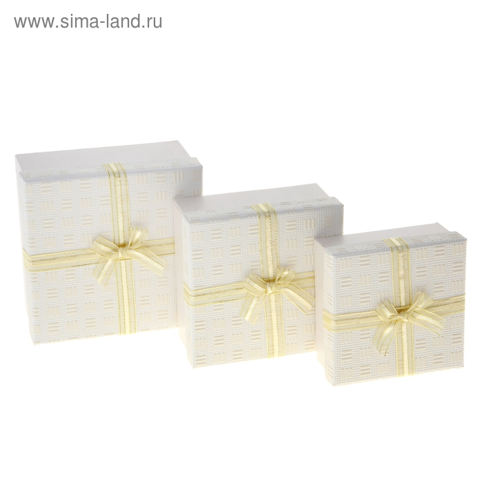 """Набор коробок 3в1 """"Фактура"""", цвет бежевый"""