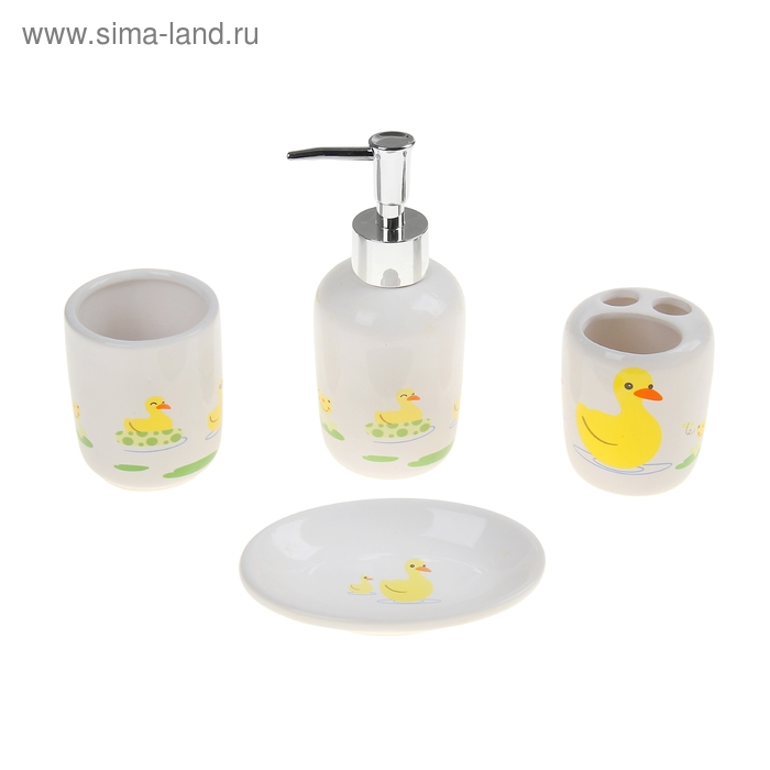 """Набор для ванной 4 предмета (Дозатор, мыльница, 2 стакана), """"Уточки"""""""